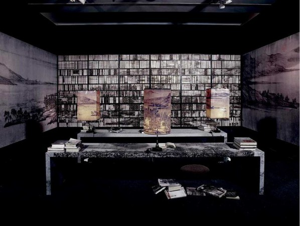Lv Shengzhong, Landscape Study Books, 468x156x273 inches, bookshelves, tables, wood, lamps, Chinese paintings, and other materials, installation, 2003