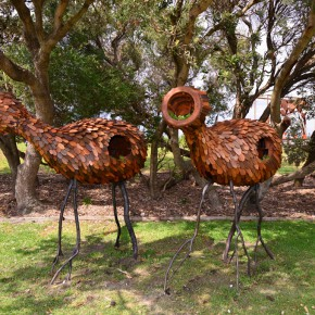 Margarita Sampson, voyagers I & II, Sculpture by the Sea, Bondi 2015. Photo Clyde Yee