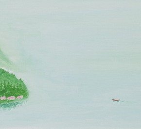 04 Wu Yi, The 15 Sceneries of West Lake Cross the Empty River with the Sound of Bell, oil on canvas, 30 x 100 cm, 2015