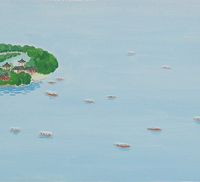05 Wu Yi, The 15 Sceneries of West Lake People are Unconsciously Placed in the Painting While They Travel on the West Lake by Ship, oil on canvas, 30 x 100 cm, 2015