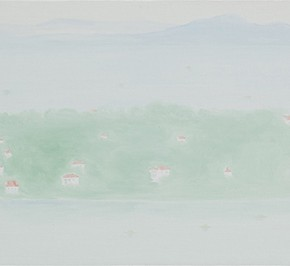 06 Wu Yi, The 15 Sceneries of West Lake Looking into the West Lake covered by Fog and Light, All the Things Are Fuzzy in the Vast Lake, oil on canvas, 30 x 100 cm, 2015