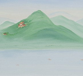 07 Wu Yi, The 15 Sceneries of West Lake Specially Visit the Yanxia Cave on a Sunny Day, Discovering that the Road to the South is Winding and Long, oil on canvas, 30 x 100 cm, 2015