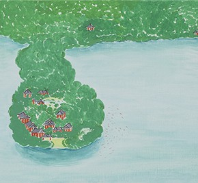 09 Wu Yi, The 15 Sceneries of West Lake The Fresh Red and Green Colors in the Water Make Me Forget Everything and as Happy as a Fish, oil on canvas, 30 x 100 cm, 2015