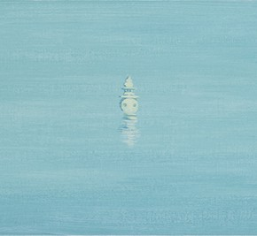10 Wu Yi, The 15 Sceneries of West Lake The Moon Rises in the Vast Sea, Three Pools Mirror the Moon, oil on canvas, 30 x 100 cm, 2015