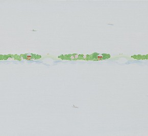 12 Wu Yi, The 15 Sceneries of West Lake Where the Oriole's Sound Breaks the Fog at Dawn of Su Causeway, oil on canvas, 30 x 100 cm, 2015