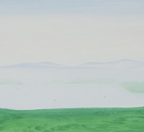 15 Wu Yi, The 15 Sceneries of West Lake Seeing the Tower in the Peak from a Distance, the Riverside Trees Fallen Leaves are Covered by Fog, oil on canvas, 30 x 100 cm, 2015