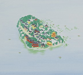 16 Wu Yi, The 15 Sceneries of West Lake The Land is Glossy Dark Green by the Spring Water, and the Newly Drawn Eyebrows Softly and Brightly are Reflected in the Mirror, oil on canvas, 30 x 100 cm, 2015