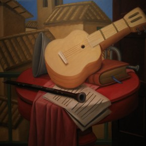 Fernando Botero, Still Life with Guitar, 2002; Oil on canvas, 178x133cm
