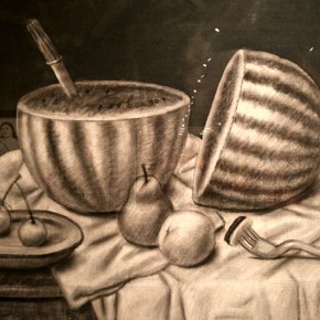 Fernando Botero, Still Life with Watermelon, 2003; Charcoal on canvas, 99x140cm