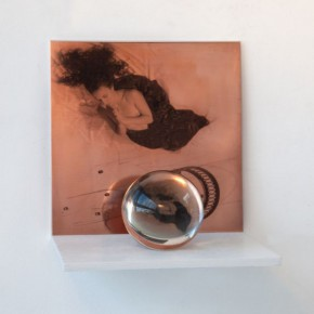 "Gabriela Morawetz Altar No. 1 2014 object photography Silk Screen Print on Copper and Glass Boube with Print on Acetae Wooden Shelf 25x25x25cm 290x290 - See+ Gallery presents ""Vanishing De-constructions"" featuring works by Gabriela Morawetz"