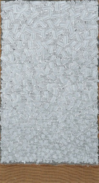 Ha Chong-Hyun, Conjunction No. 97-035. Oil on hemp cloth. 86 58 x 47 14 in. (220 x 120 cm.)