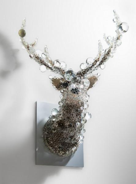 Kohei Nawa, Resin, Taxidermy, Glass beads, Stainless steel, Alminium (includes pedestal 52 × 59 H1.5 cm) 55 x 72 x 134 cm 2015