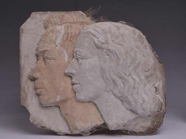 Wang Linyi, Head Profile of Couple Wang Linyi and Wang Henei, 1937, 34x37.5x4.5cm