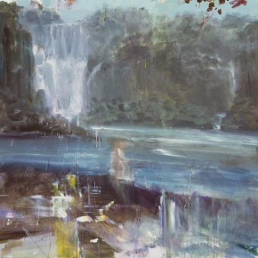 """Wei Jia One Mans River 2015 Acrylic on canvas 290x290 - James Cohan Gallery presents """"In Memory of a Landscape II: Lv Song, Wei Jia and Xie Fan"""""""