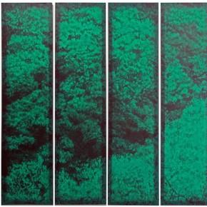 """Xie Fan Landscape 2015 Oil on silk 200x50cmx6 290x290 - James Cohan Gallery presents """"In Memory of a Landscape II: Lv Song, Wei Jia and Xie Fan"""""""