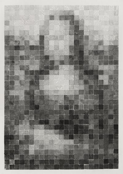 Yang Hongwei, Pixel Analysis No. 5, 2015; print ink on rice paper, 100x70cm
