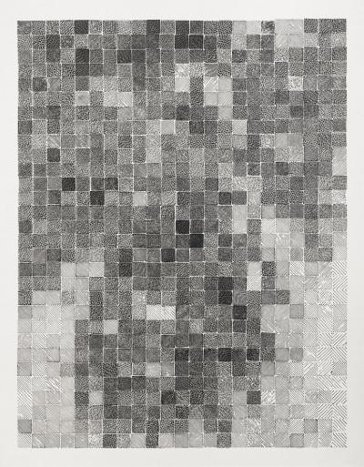 Yang Hongwei, Uncertain Pixel, 2015; print ink on rice paper, 120x150cm