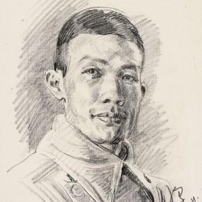 "02 Li Hua Self Portrait drawing on paper 30.3 x 23.5 cm 1944 290x290 - ""Roar! China"": Li Hua's Works of the 1930s and 1940s debuts in Wuhan"