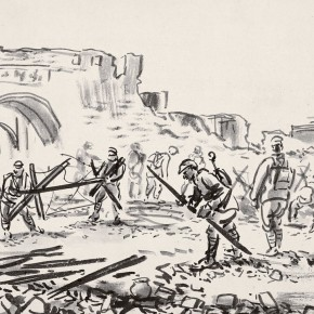 """08 Li Hua Outside the East Gate of Changde – Clean the Battlefield ink on paper 23 x 32 cm 1944 290x290 - """"Roar! China"""": Li Hua's Works of the 1930s and 1940s debuts in Wuhan"""