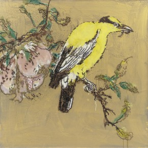 08 Ye Yongqing Yellow Bird on a Pomegranate Branch 2015 Acrylic on Canvas 150x150cm  290x290 - Gilded Age – The Wanderings of Ye Yongqing to be Presented at Asia Art Center