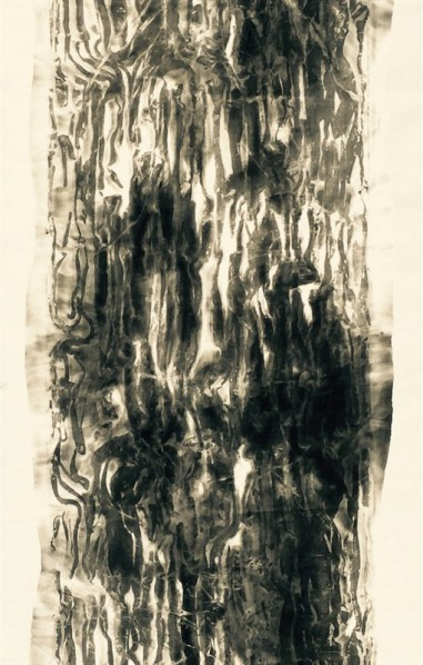 Yu Le'en, Mountains, Water, Clouds, Forest and Eearth Series–Coulds; ink on paper, 180x80cm
