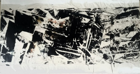 Yu Le'en, Mountains, Water, Clouds, Forest and Eearth Series–Earth; Painting on paper, 180x70cm