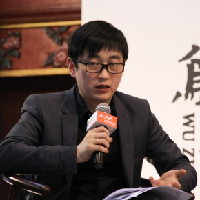 """07 One of the curators Liu Gang gave a speech at the press conference of """"UtopiaHeterotopia First Wuzhen International Contemporary Art Exhibition"""""""