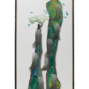 "12 Wu Jian'an Arranging Water Ding Mountain – Tibiofibular Mountain watercolor on dry dead trunk drawing paper cutting pastel pencil 125 x 65 x 11.5 cm 2014 290x290 - With the Mountains and Rivers – Chinese Landscape in the Multi-Dimension"" Opening in Sanya"
