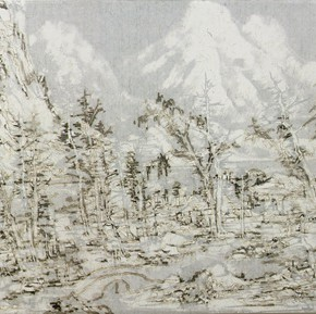 "18 Wang Tiande The Back Mountain Figure rice paper bast paper ink flame 217.5 x 63 cm 20151 290x289 - ""Mountains and Rivers – Chinese Landscape on a Multi-Dimensional Level "" was unveiled in Sanya"