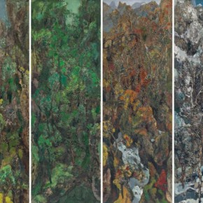 58 Hong Ling, Spirit of the Mountains and Rivers, 150 x 50 cm x 4, oil on canvas, 1996