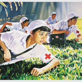 Jing Kewen Dream 2008 N° 1 Nurses 2008 Öl auf Leinwand Oil on canvas 2 teilig two parts 250 x 350 cm © the artist. M Sigg Collection Hong Kong. By donation 290x290 - Chinese Whispers: Recent works from the Sigg and M+ Sigg Collections will be presented in Switzerland