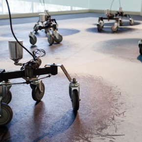 """Ruey Shiann Shyu Eight Drunken Immortals 2012 Metal wheels wires ink motors transformers sensors Dimensions variable Courtesy of White Rabbit Collection Sydney Image courtesy of Hus Art Company 290x290 - Taipei Fine Arts Museum presents the group exhibition """"The Way Things Go"""""""