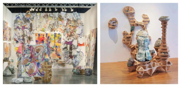 Seattle Art Fair booth view, 2015 and Lu Lu Green, 2012, Exhibition view Earth & Alchemy Contemporary Ceramic Sculpture