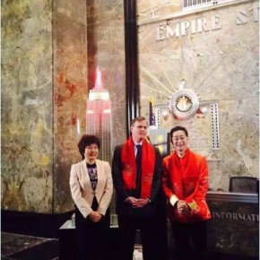 02 Zhang Qiyue Consul Genearl of China in New York Empire State Building COO. John B. Kesslerin the middle actor Liuxiaolingtong the right attended the Lighting Ceremony 290x290 - 2016 Happy Chinese New Year: Fantastic Art China Celebrations in New York