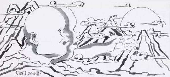 Fang Lijun, Spring of 2014, 2014; Ink on paper, 32.2×70.5cm