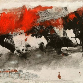 Hou Beiren, A Visit to Temple, 2015; Ink on Paper, 38 x 86 in