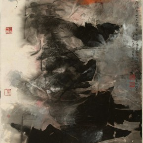 Hou Beiren, Lost in Clouds and Fog, 2015; Ink on Paper, 51 x 53 in