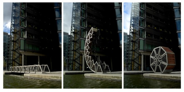 Rolling Bridge, London; Three Stages of the Rolling Bridge Image Credit Steve Speller, 2009