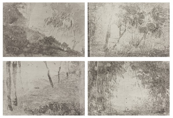 Yan Shanchun, West Lake – Ge Hill. 2013; Copper plate etching, each image 35x48cmx4