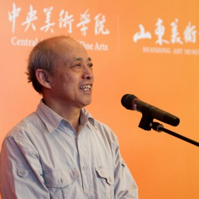 "03 Prof. Sun Jingbo from CAFA addressed the opening ceremony 290x290 - ""The Temperature of History"" Opened at Shandong Art Museum with Representational Oil Paintings Warming the Earth of Shandong"