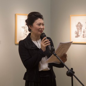 "05 Ms. Amelia Gao chaired the opening ceremony 290x290 - ""My Left Hand – Zhu Xinjian"" Exhibition & the Launch of the First Volume of The Complete Works of Zhu Xinjian Landed at Gauguin Gallery"