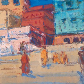 08 Shi Yu, People of the Ganges River No.13, oil on canvas, 25 x 18 cm, 2013