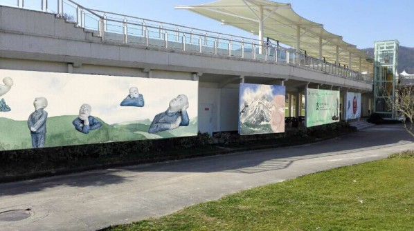 """Mentality: A Wang Shaojun Art Exhibition"" at Delson Green World Golf Club, Bulletin board."