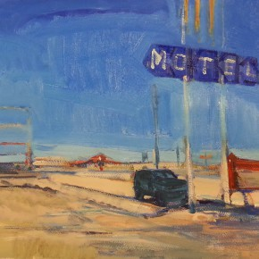 70 Shi Yu, Highway 66 – The Motel, oil on paper, 76 x 55 cm, 2014