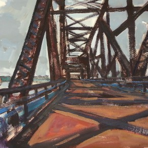 72 Shi Yu, Highway 66 – The Old Stone Bridge with Iron Chains, oil on paper, 76 x 55 cm, 2014