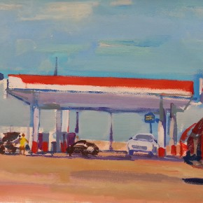 73 Shi Yu, Highway 66 – Gas Station, oil on paper, 76 x 55 cm, 2014