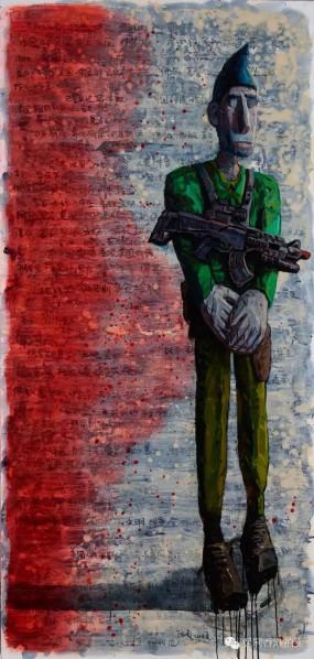 Chen Qi, Salvation, 2014;  Oil on canvas, 210 x 100 cm