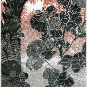 """Michael Eade Sea Grape Branch 2014 2 block linocut with subtle blend rolls on each block printed on handmade Japanese Misu paper 64.3 x 39.4 cm 290x290 - Fou Gallery announces """"A Piece of Paper"""" featuring works related to paper"""