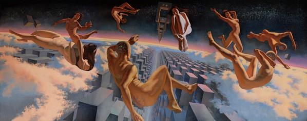 Wayne, The Door Through Spaces, 2015; Oil on canvas, 405x160cm