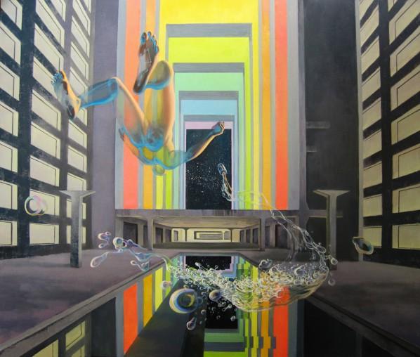Wayne Yan, Roaming through Space Station, 2015; Oil on canvas, 160x135cm